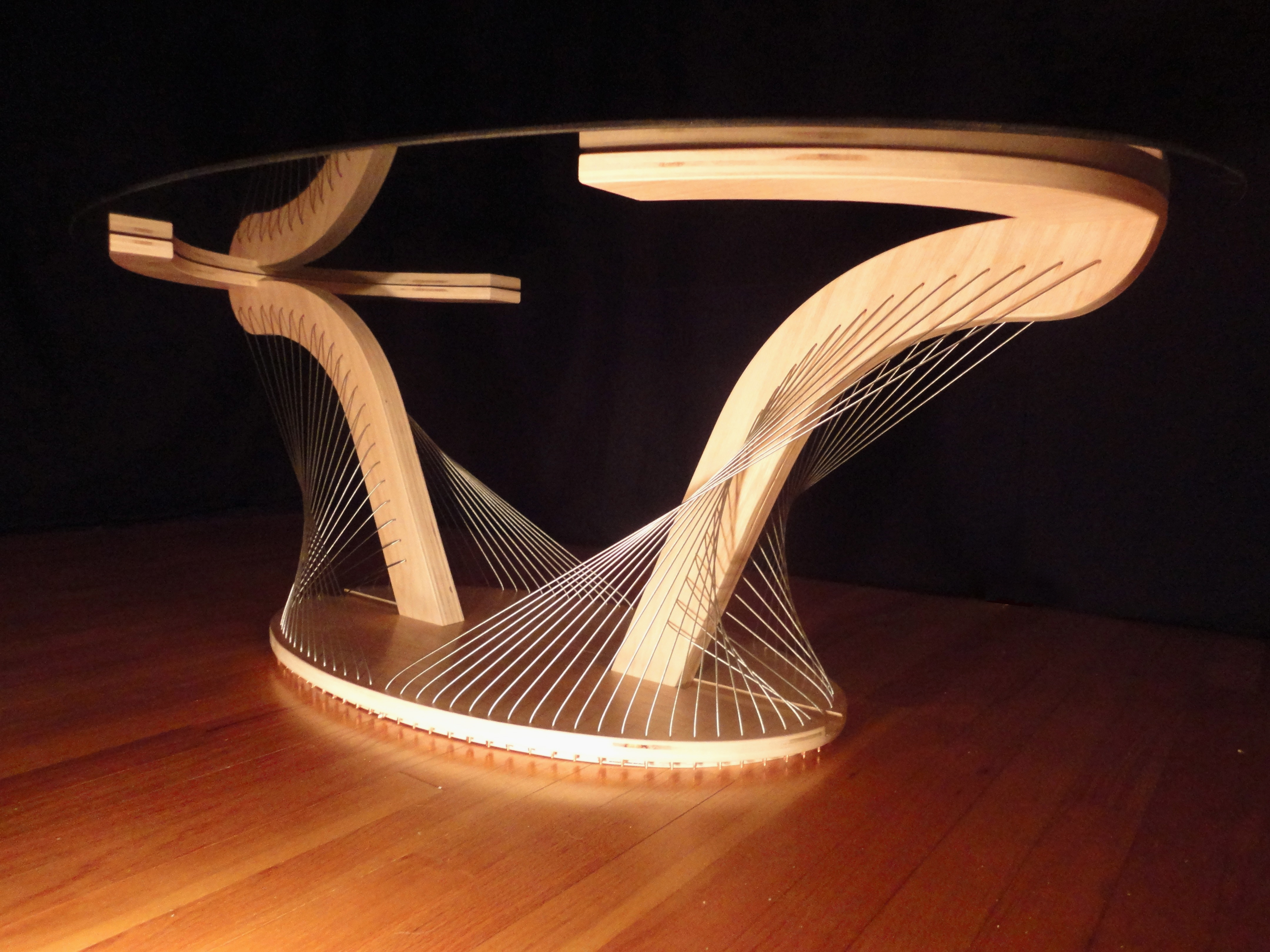 Wood and wire Sculptural Oval Coffee Table by Robby Cuthbert